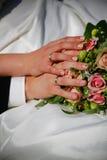 Ślubny kwiat i pierścionki Obraz Stock