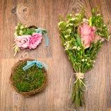 Ślubny kwiatu set, obrączki ślubne i Obraz Royalty Free