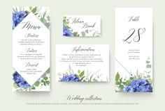 Ślubny kwiecisty osobisty menu, miejsce, informacja, stół numerowy c royalty ilustracja