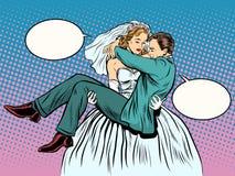 Ślubny panna młoda fornal niesie wewnątrz ona ręki Zdjęcie Royalty Free