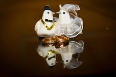 Ślubny pierścionek zaręczynowy, i gałganiane gołąbki państwo młodzi fotografia royalty free