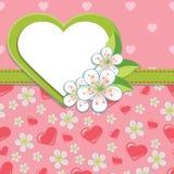 Ślubny projekta szablon. Wiśni serca i kwiaty  Obrazy Stock
