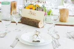 Ślubny stół ustawiający z namecard Obraz Royalty Free