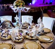 Ślubny Stołowy przygotowania Obraz Stock