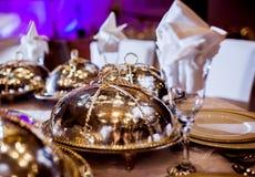 Ślubny Stołowy przygotowania Zdjęcia Stock
