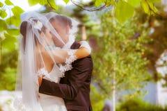Ślubny strzał państwo młodzi w parku Obraz Stock