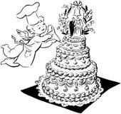 Ślubny tort I aniołeczek Zdjęcie Royalty Free