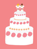 Ślubny tort z dwa pannami młodymi Zdjęcia Stock