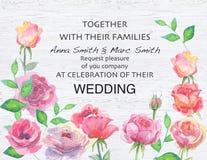Ślubny wektorowy kwiecisty zaprasza zaproszenie dziękuje ciebie, karciany akwarela projekt Zdjęcie Royalty Free