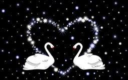 Ślubny wektorowy tło z białym sercem i łabędź ilustracja wektor