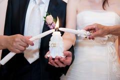 Ślubny wizerunek, obrządkowa oświetleniowa świeczka Zdjęcia Royalty Free