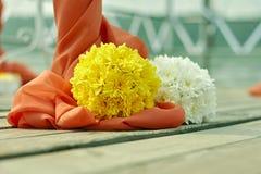 Ślubny wystrój kwitnie w korala stylu fotografia royalty free