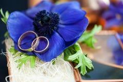 Ślubny wystrój z błękitnymi anemonami fotografia royalty free