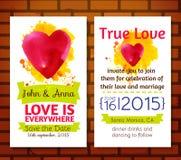 Ślubny zaproszenia save daktylowe karty Fotografia Stock