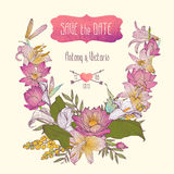 Ślubny zaproszenia save daktylowy szablon z kwiatami ilustracja wektor