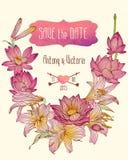 Ślubny zaproszenia save daktylowy szablon z lotosową i królewską lelują kwitnie royalty ilustracja