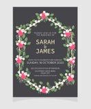Ślubny zaproszenie karty szablon z miedzianego koloru kwiatu kwiecistym tłem tła eleganci serc zaproszenia romantycznego symbolu  obraz stock