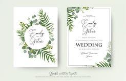 Ślubny zaproszenie, kwiecisty zaprasza dziękuje ciebie, rsvp nowożytna karta De royalty ilustracja