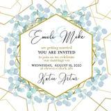Ślubny zaproszenie, kwiecisty zaprasza dziękuje ciebie Zielonych greenery eukaliptusowych gałąź wianku ramy dekoracyjny wzór fotografia stock