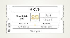 Ślubny zaproszenie pt 2 szablon - RSVP, odpowiedzi karta (z używać chrzcielnicami spisywać w kartotece) obrazy royalty free