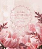 Ślubny zaproszenie rocznik kwitnie wektor Tapetowi kwieciści wystroju piękna wiosny lata wystroje ilustracja wektor
