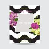 Ślubny zaproszenie układu szablon z Storczykowymi kwiatami Save Daktylową Kwiecistą kartę z Egzotycznymi kwiatami dla dziecko pry Zdjęcia Royalty Free