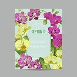 Ślubny zaproszenie układu szablon z Storczykowymi kwiatami Save Daktylową Kwiecistą kartę z Egzotycznymi kwiatami dla przyjęcia Zdjęcie Royalty Free
