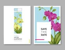 Ślubny zaproszenie układu szablon z Storczykowymi kwiatami Save Daktylową Kwiecistą kartę z Egzotycznymi kwiatami dla przyjęcia Fotografia Stock