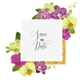 Ślubny zaproszenie układu szablon z Storczykowymi kwiatami Save Daktylową Kwiecistą kartę z Złotymi ramy i egzota kwiatami Zdjęcia Stock