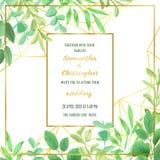 Ślubny zaproszenie z Geometryczną ramą i Greenery Fotografia Royalty Free