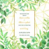 Ślubny zaproszenie z Geometryczną ramą i Greenery Zdjęcia Stock