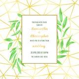 Ślubny zaproszenie z Geometryczną ramą i Greenery Zdjęcie Stock