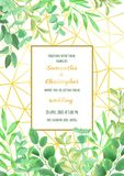 Ślubny zaproszenie z Geometryczną ramą i Greenery Obrazy Royalty Free