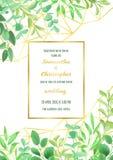 Ślubny zaproszenie z Geometryczną ramą i Greenery Obraz Royalty Free
