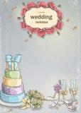 Ślubny zaproszenie z obrazkiem ślubne rzeczy, tort, win szkła, bukiet róże, gołąbki Zdjęcia Stock