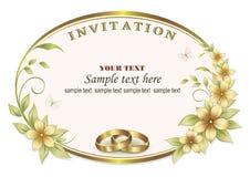 Ślubny zaproszenie z pierścionkami w owal ramie royalty ilustracja