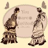 Ślubny zaproszenie z rocznik damami Zdjęcie Stock