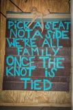 Ślubny znak dla rodzinnego obsiadania zdjęcie stock
