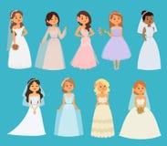 Ślubnych pann młodych dziewczyny charakterów bielu sukni wektorowa ilustracja Świętowanie mody kobiety kreskówki dziewczyny bielu ilustracji