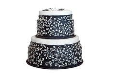 Ślubu czarny i biały tort fotografia stock