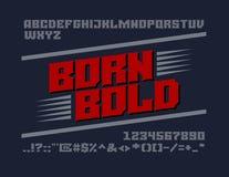 Śmiały serif typeface Uppercase listy, liczby i symbole, royalty ilustracja