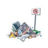 Śmiecący Śmieciarską grat stertę bez Śmiecić znaka Fotografia Royalty Free