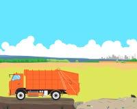 Śmieciarska ciężarówka przy usypem Zdjęcie Stock