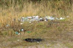 Śmieciarski usyp na zielonej łące utylizowywa, dziki - Rosja Berezniki 11 2017 Oct zdjęcia stock