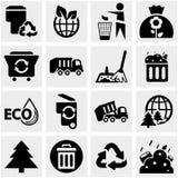 Śmieciarskie wektorowe ikony ustawiać na szarość Fotografia Royalty Free