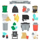 Śmieciarskiego koloru płaskie ikony ustawiać Zdjęcia Stock