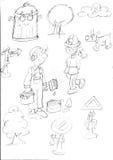 śmieciarskiego kosza drzewo, psi domowego obrazu drogowi znaki, nakreślenia, ołówków doodles i nakreślenia, i Obrazy Stock