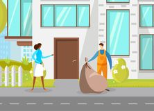 Śmieciarskiego mężczyzny miasta Zbierackie banialuki w plastikowym worku ilustracja wektor