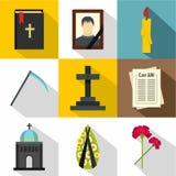 Śmierć osob ikony ustawiać, mieszkanie styl royalty ilustracja
