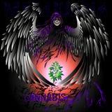 Śmierć, skrzydła, słońce, marihuany roślina ilustracja wektor
